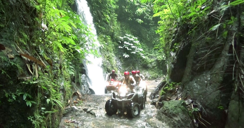 Excitements of Atv Ubud Adventures Along Waterfall and Cave